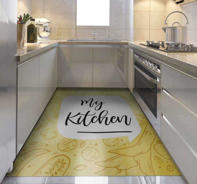 TenStickers. My Kitchen flower rug. Yellow vinyl rug for kitchen. It is made of high quality vinyl and easy to clean or store if neccessary. Check it out yourself!