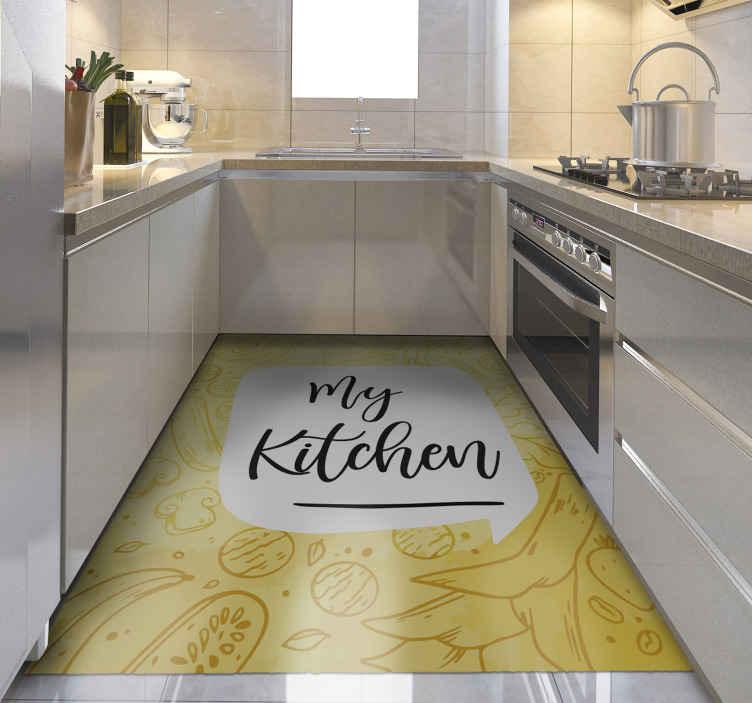 """TenVinilo. Alfombra vinilo frase mi cocina. Alfombra vinilo cocina amarilla con patrón original y la frase """"my kitchen"""" para que la decores a tu gusto. Alta calidad ¡Envío express!"""