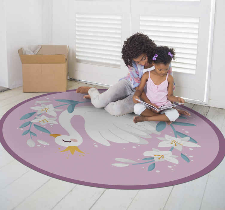 TenStickers. Swan Queen kids vinyl carpet. Swan vinyl rug, perfect for decoarting your kid's room. Easy to clean and store. Made of high quality vinyl material. Check it out!