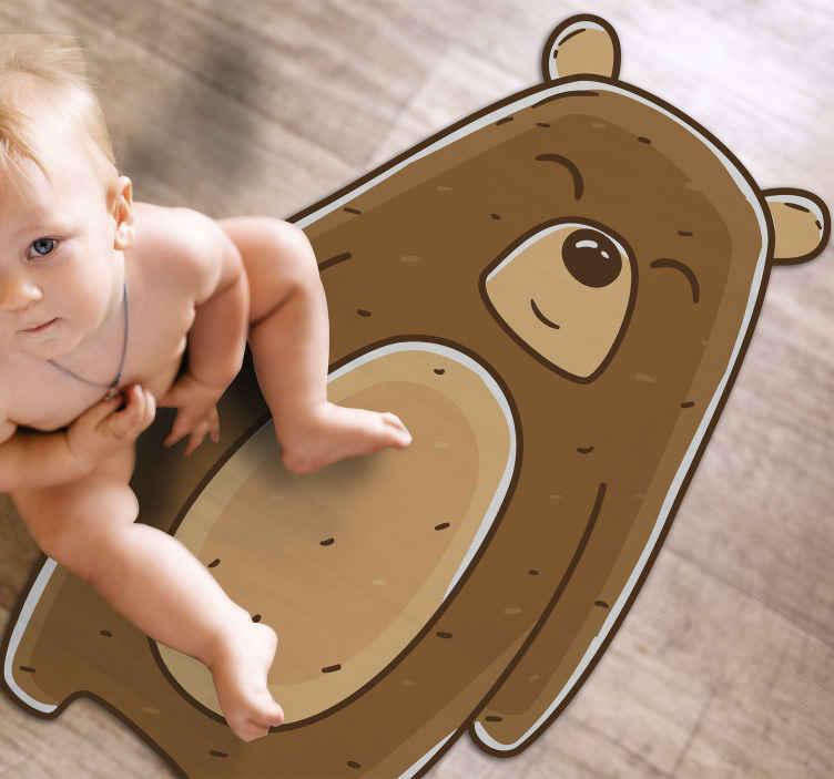 TENSTICKERS. フレンドリーなクマの動物マット. クマのビニールの敷物、あなたの子供の部屋のための完全な装飾。高品質のビニール製。お手入れと保管が簡単です。見てみな!