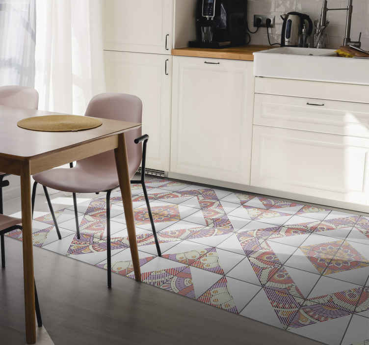 TenStickers. 葡萄牙瓷砖瓦垫. 葡萄牙瓷砖乙烯基地毯,非常适合以优雅的装潢装饰您的厨房。由优质乙烯基制成。看看这个!
