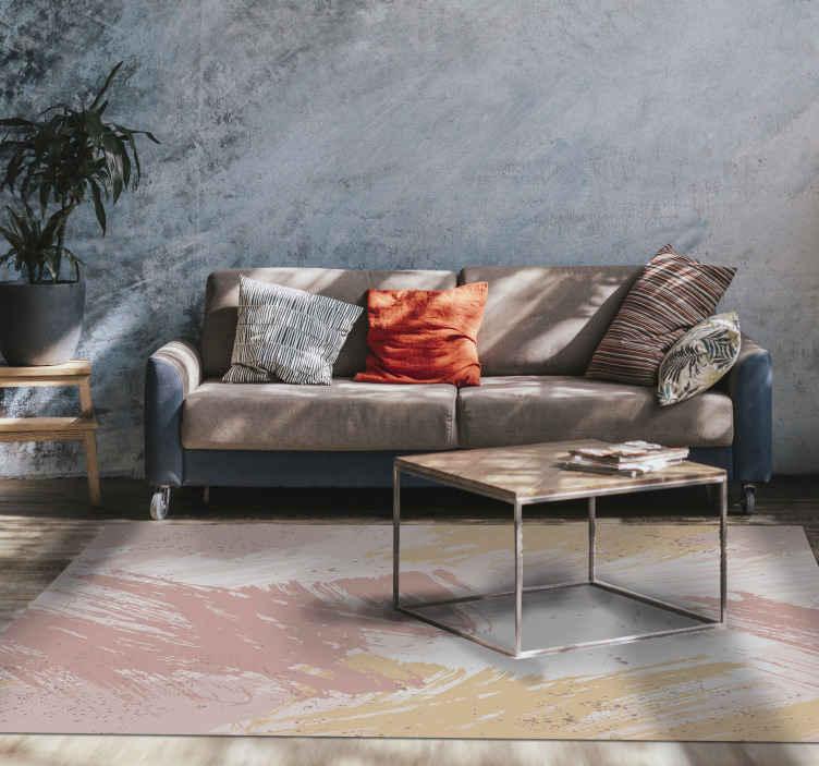 TenStickers. 抽象的粉红色当代地毯. 粉色抽象乙烯基地毯,为您的沙龙的完美装饰。由优质乙烯基制成。易于清洁和储存。看看这个!