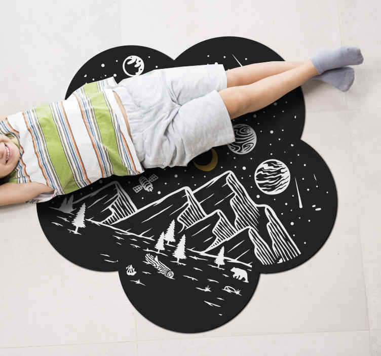 TenStickers. Galaxy universe teenage rugs for bedrooms. Make the choice to be exceptional with our space elements design over mountain top  vinyl carpet. An original and durable product.