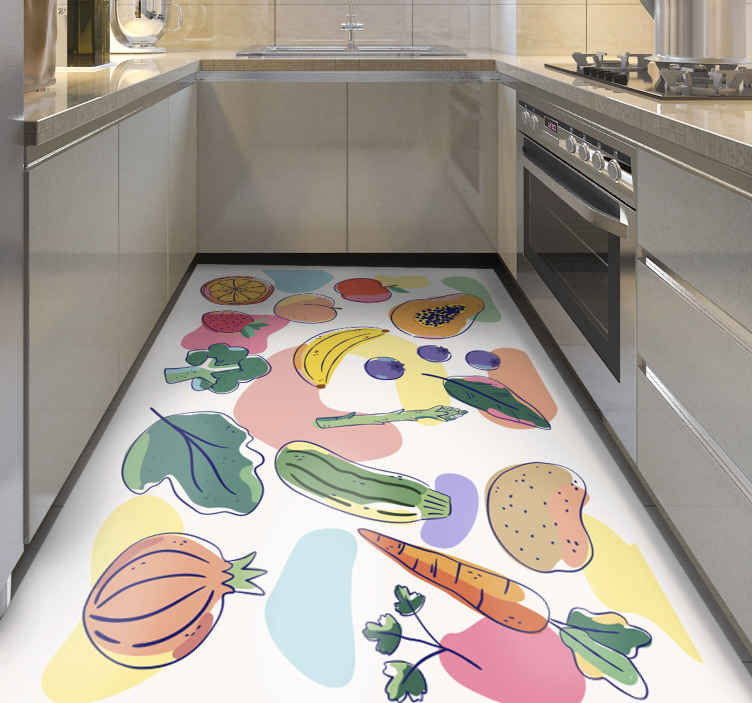 TenStickers. Colourful fruits.  kitchen flooring. White vinyl tile kitchen mat with fruit types, perfect to decorate your kitchen or dining room. Original touch to your home
