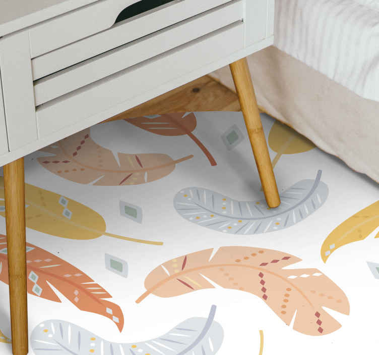 TenStickers. Pastel feathers  nature carpet. Carpet in multiple colorful designs. A rug with a richly toned feather patterned flower sticker to showcase your space with a classic effect.