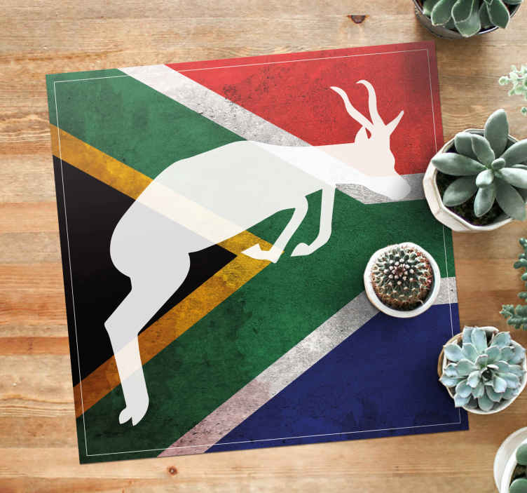 TenStickers. Springboks logo Square animal mat. Springboks logo with flag pattern vinyl rug to beatify your entrance space to welcome guest to your home or office in the spirit of south Africa.