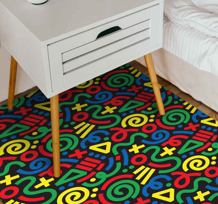 TenStickers. Drawn abstract pattern geometric carpets. Drawn abstract pattern geometric rugs to place on the floor space of kids. It interesting colour and features would take the attention of kids.