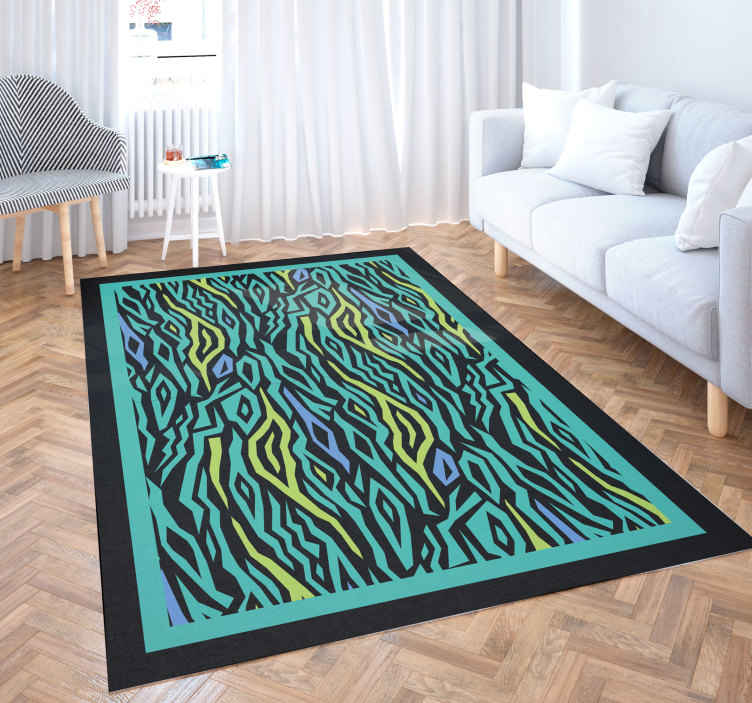 TenStickers. Neon blue zebra print animal print carpet. Beautiful vinyl rug with blue zebra print, perfect as a decoration for your entrance. Made of high quality vinyl. Easy to clean and store.