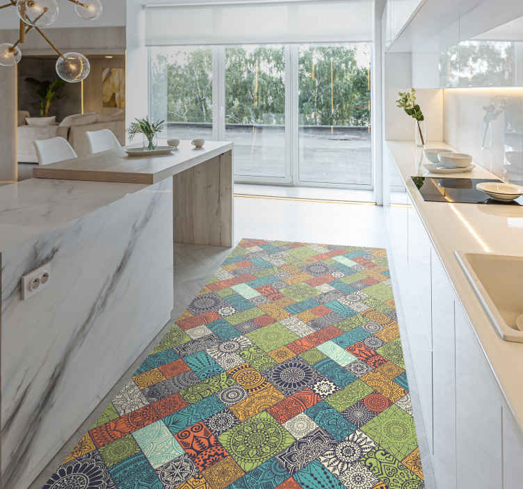 TenStickers. ethnic mandala pattern tiles kitchen flooring. Mandala tiles vinyl rug, perfect for decorating your kitchen. Easy to clean and store. Made of high quality vinyl. Check it out!