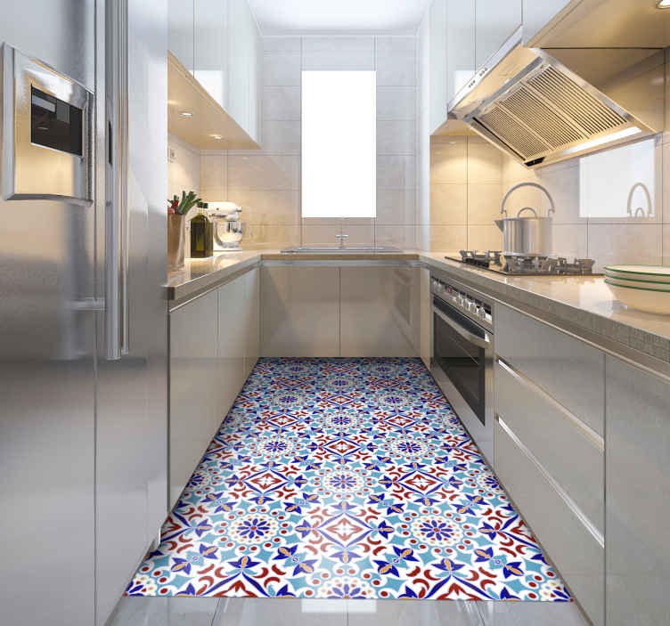 TenStickers. light blue tile pattern kitchen flooring. Vinyl rug with blue tiles, perfect as a kitchen decoration. Easy to clean and store. Made of high quality vinyl. Check it out!