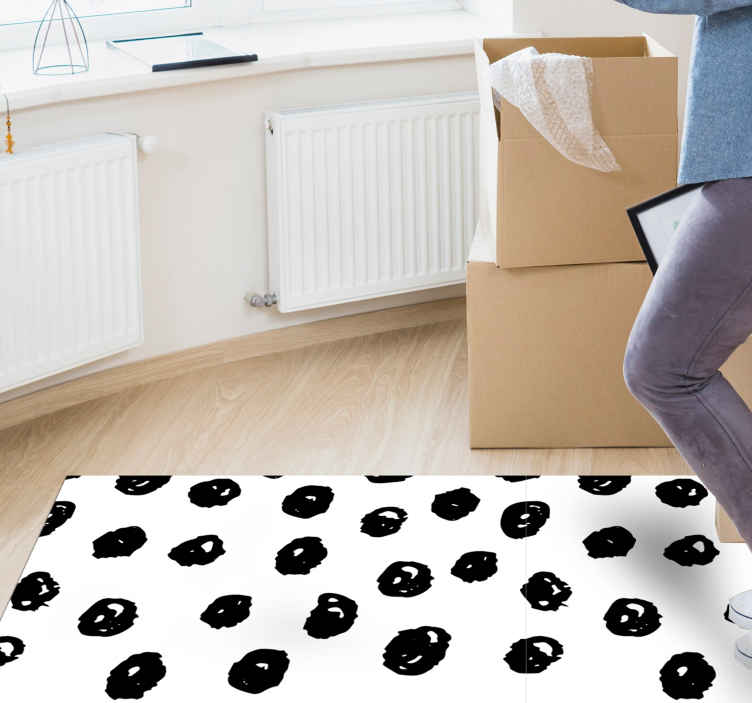 TenStickers. black dots pattern on white background  contemporary rugs. Vinyl rug with black dots, perfect as a decoration for your kitchen. Easy to clean and store. Made of high quality vinyl. Check it out!