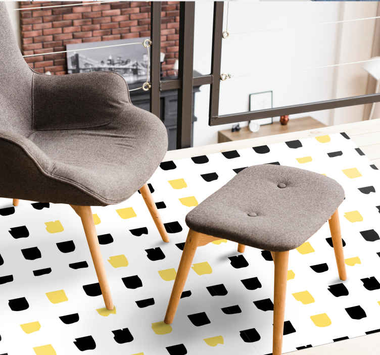 TenStickers. yellow and black dot pattern rectangular jute rug. Vinyl rug with yellow and black dots, perfect for decorating your salon. Easy to clean and store. Made of high quality vinyl. Check it out!