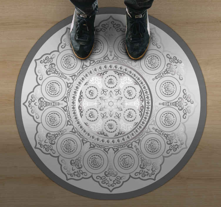 TenStickers. Grey mandala pattern mandala vinyl mat. Grey mandala pattern mandala vinyl rug for your home. Beautify any space in the home with this design. It is original, durable and  easy to maintain.