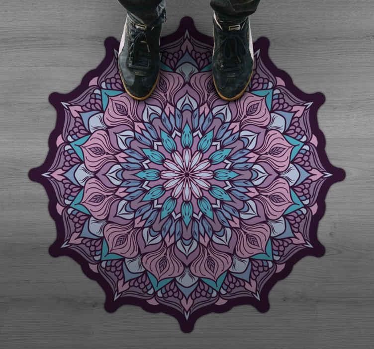 TenStickers. Boho mandala pattern mandala vinyl mat. Nadaj swojemu domowi wyjątkowy charakter dzięki naszym oryginalnym dekoracyjnym dywanom winylowym w kolorowe mandale. Jest oryginalny i trwała.