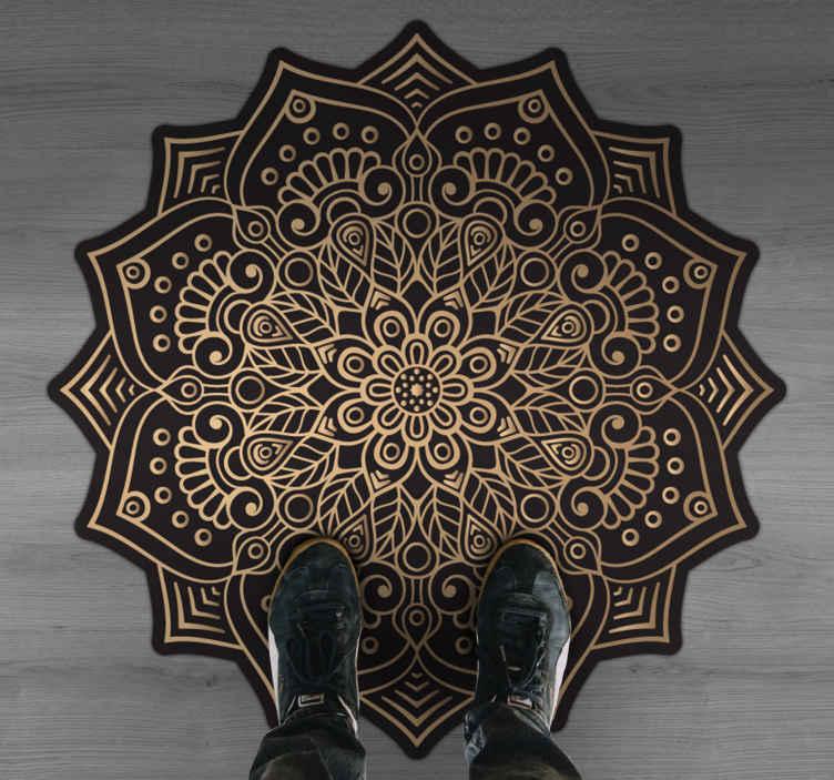 TenStickers. Golden mandala mat. Beautiful mandala vinyl carpet with beautiful ornamental look. An intricate patterned mandala vinyl carpet in alternating black and gold colour.