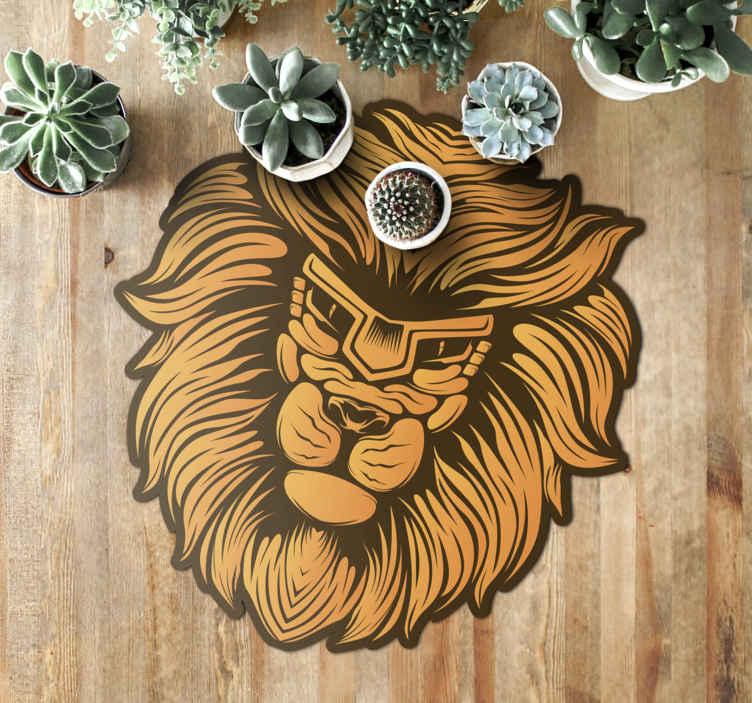 TenVinilo. Aflombra vinilo animales león boho. Alfombra vinílica salón o habitación de animal print con figura de león que será perfecta para tu hogar. Elige medidas ¡Compra online!