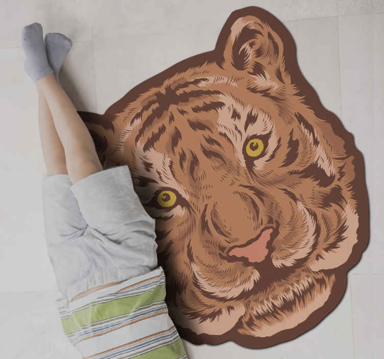 TenStickers. Tiger emblem animal mat. This tiger animal vinyl carpet is just perfect for a kid's bedroom. An emblem design of a tiger carpet  just amazing for your home. Best quality.