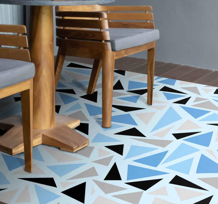 TenStickers. Dywan winylowy Błękitna mozaika. Oryginalny dywan winylowy z kolorowym wzorem w mozaikę. Nadaje się do każdej części domu. łatwe w utrzymaniu, trwałe i dostępne w różnych rozmiarach.