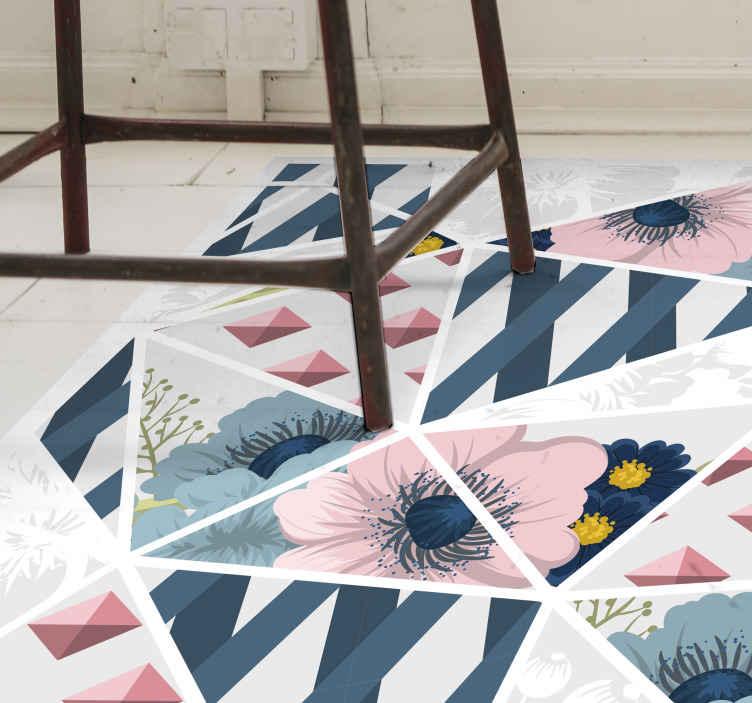 TenVinilo. Alfombra vinílica mosaico geométrico de flores. Hermosa alfombra vinilo mosaico para sala de estar. Fabricado con material de la mejor calidad, antideslizante, duradero y resistente