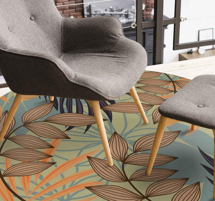 TenVinilo. Alfombra vinílica vintage de hojas y ramas. Elija decorar su hogar con una alfombra de vinilo excepcional y exclusiva con motivos florales. Elige las medidas ¡Envío exprés!