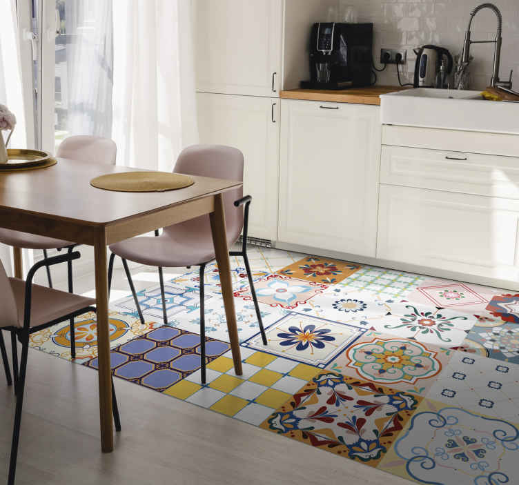 TenStickers. Ceramic multiple tiles tile mat. Kitchen rug with of tiles of different designs full of colours that will fill with joy the environment where you decide to place. Anti-bubble vinyl.