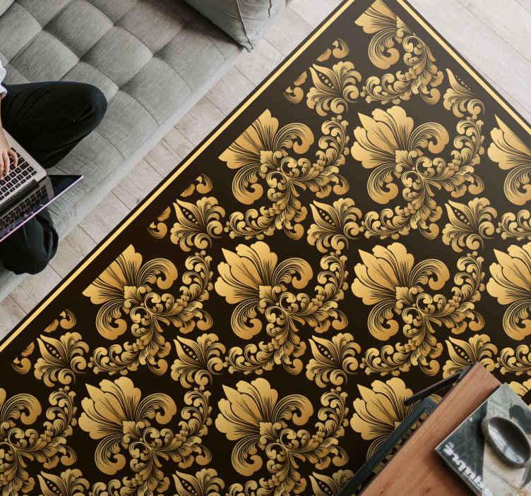 TenStickers. Clássico luxo antiquado damax telha tapetes contemporâneos. Um pavimento moderno com um produtoluxuoso na cor preta e dourada que renovará a decoração da sua casa. Zero resíduo após a remoção.