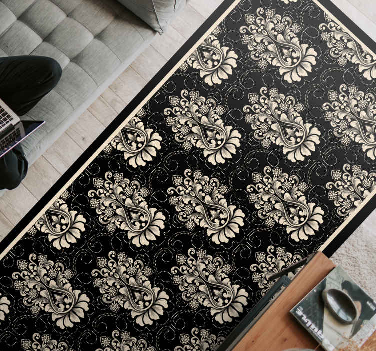 TenStickers. damask decorative tile contemporary rugs. Original vinyl rug in black available in several colours that can give a touch of elegance to your living room. Available in 50 colours.