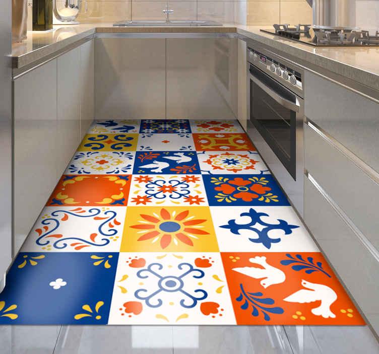 TenStickers. Dywan nowoczesny wzór płytek meksykańskich. Mata kuchenna z płytek winylowych z kolorowym wzorem nawiązującym do meksykańskiej kultury i ilustracji płytek. Wybierz swój rozmiar.