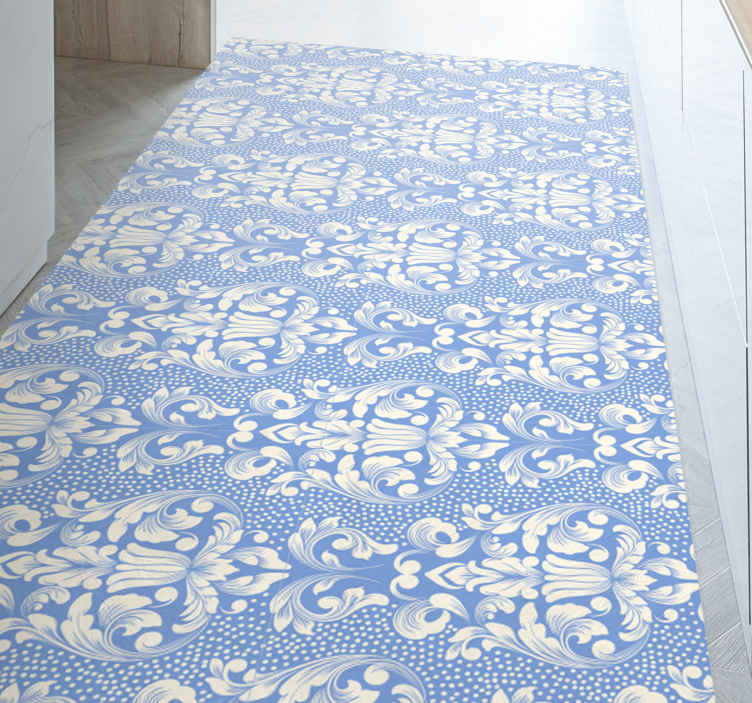 TenStickers. damask tile in blue tones contemporary rugs. A kitchen mat in blue colour perfect for the decoration of your kitchen, resistant and easy to apply and clean if necessary. Discounts available.
