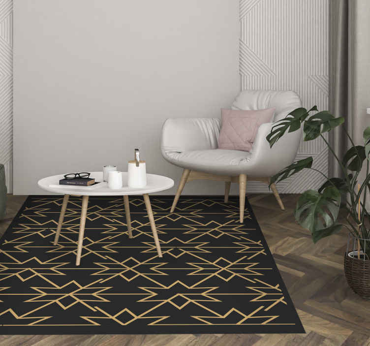 TenStickers. Floor Star Tile Floor vinyl carpet. An amazing floor vinyl carpet with golden stars design on black background. This carpet can be your dining room rug, living room center rug, etc.