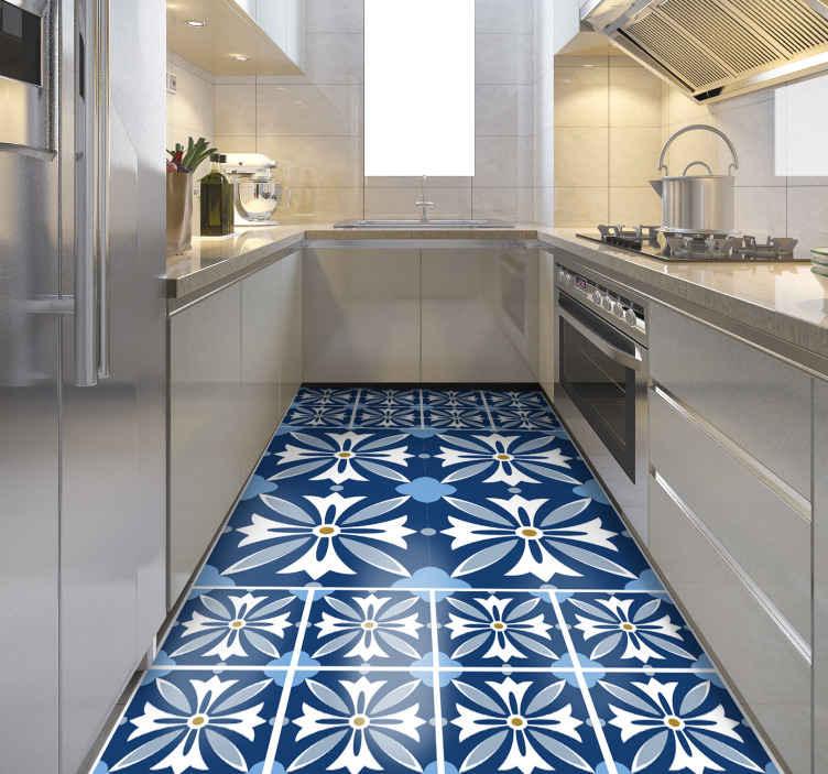 TenStickers. Dywan winylowy Greckie niebieskie płytki. Piękny dywan winylowy do przedpokoju, odpowiedni również do Twojej kuchni. Niebieska wykładzina winylowa wykonana z najlepszej jakości.