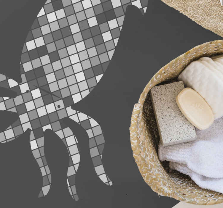 TenStickers. mosaïque calamar  mosaic vinyl flooring. Beautiful mosaique calamar vinyl carpet in great shape for the entrance area and other interiors in a house. An amazing vinyl carpet.