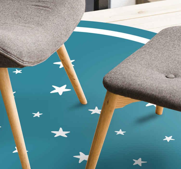 TenStickers. 星形花纹现代地毯. 超级星形花纹乙烯基地毯,非常适合入口区域和房屋的其他内部装饰。可以买到的惊人的乙烯基地毯。