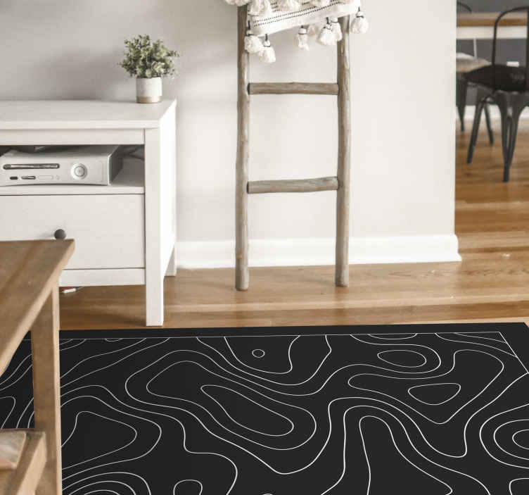 TenStickers. Design motif black and white geometric carpets. Nice and super design motif black and white  vinyl carpet in great shape for the entrance area and other interiors in a house. An amazing vinyl carpet.