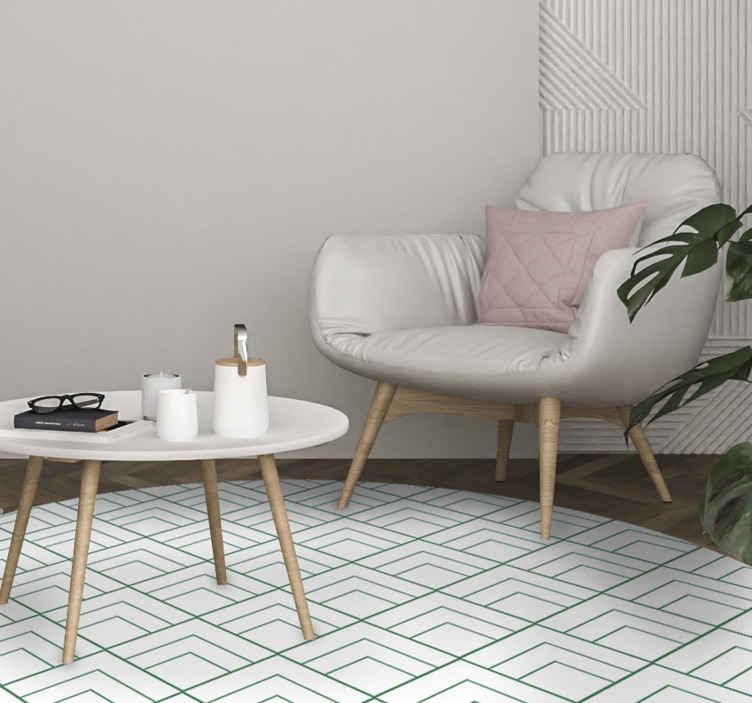 TenStickers. Tapetes contemporâneos com motivos quadrados. Tapete de vinil com motivos quadrados em ótimo estado para a área de entrada e outros interiores de uma casa. Um tapete de vinil incrível que você pode comprar.