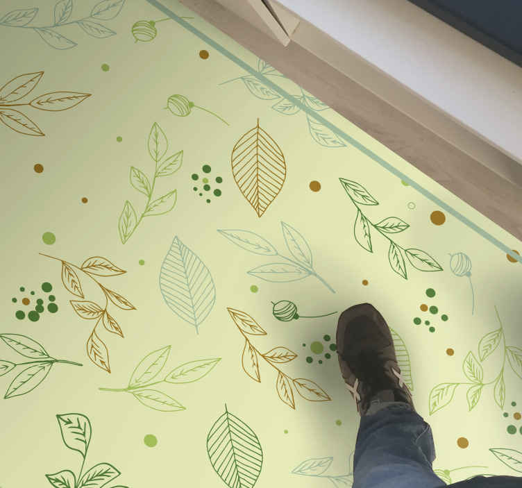 TenStickers. Feuilles desig carpet flower rug. Nice feuilles desig super vinyl carpet in great shape for the entrance area and other interiors in a house. An amazing vinyl carpet that you can buy.
