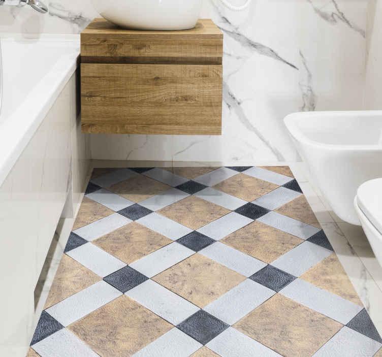 TenStickers. 老式的梅布尔模式复古地毯. 您的地板的老式大理石花纹地毯。此设计适用于房屋的任何部分,可用作浴室的地毯,厨房等。