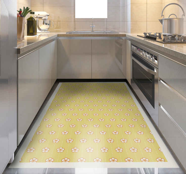 TenStickers. 黄色的樱花图案花地毯. 花香的乙烯基地毯,上面有令人惊叹的樱花花朵图案,中间有小点的点线。高质量。