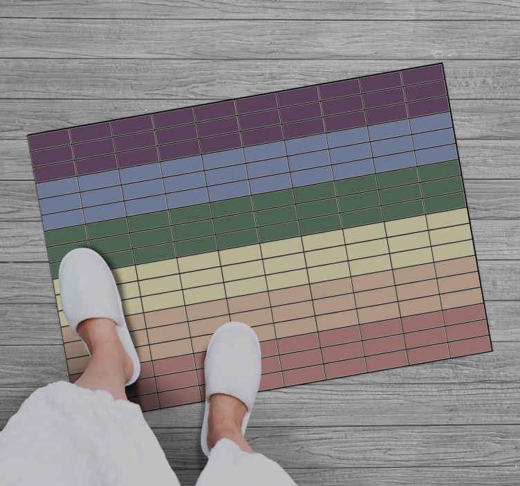 TenVinilo. Alfombras vinílica mosaico de arcoíris. Alfombra vinílica salón con azulejos que presenta un impresionante patrón de azulejos con los colores del arcoíris ¡Envío exprés!