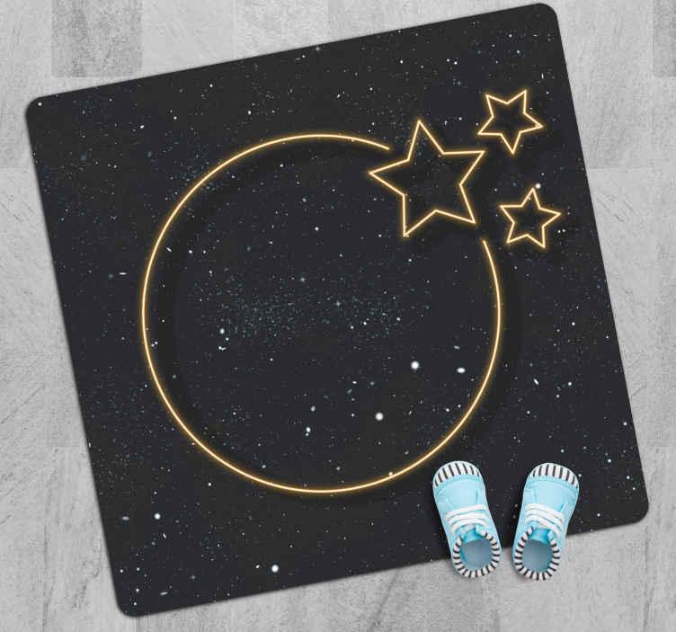 TenVinilo. Alfombra vinilo infantil estrellas de neón. Alfombra vinilo infantil que presenta una gran luna amarilla y 3 estrellas, todas pintadas para que parezcan luces de neón ¡Envío exprés!
