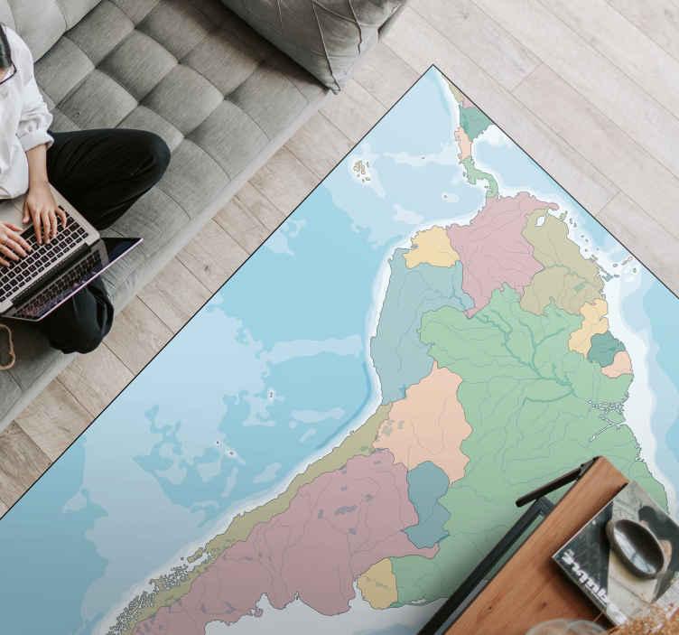 TenVinilo. Alfombra vinílica mapamundi América Sur. Fantástica alfombra vinílica salón para que decores tu casa con un mapa político de América del Sur con colores exclusivos ¡Envío exprés!
