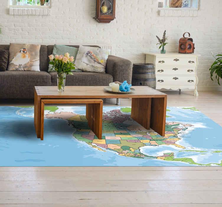 TenStickers. χαλί χάρτη βινυλίου αμερικανική βορειοαμερικανική. ένα πολύχρωμο χαλί βινυλίου από βορειοαμερικανικό χάρτη για να κάνει τη διακόσμηση σας πρωτότυπη και υπέροχη. προϊόν υψηλής ποιότητας που παραδίδεται στο σπίτι σας.