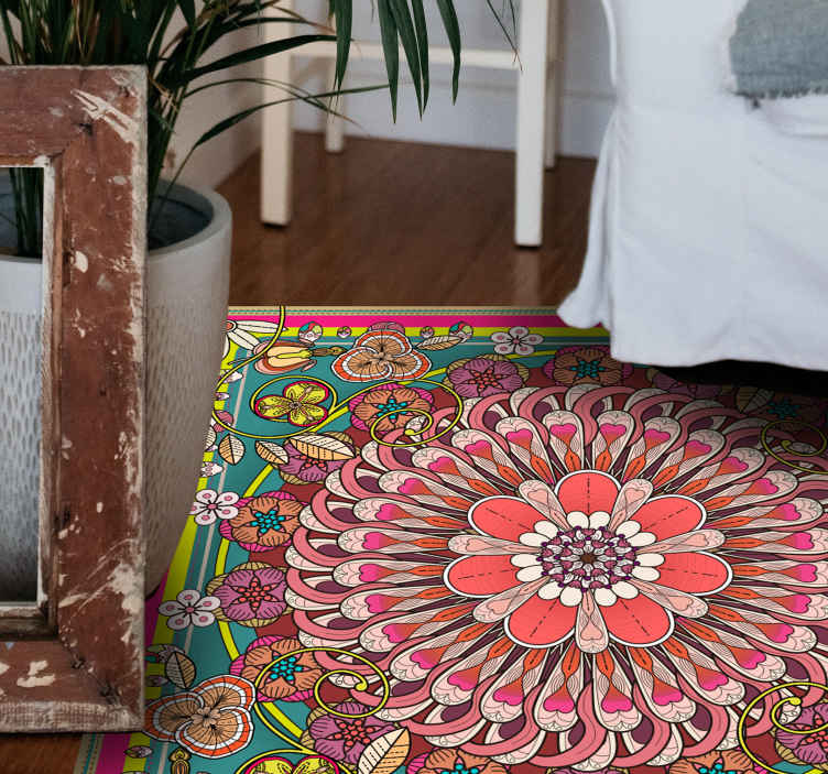 TenStickers. Geometric colorful mandalas geometric carpets. Vinyl rug with a pink mandala, perfect as a decoration for bedroom. Easy to clean and store if neccessary. Add proper size. Check it out yourself!