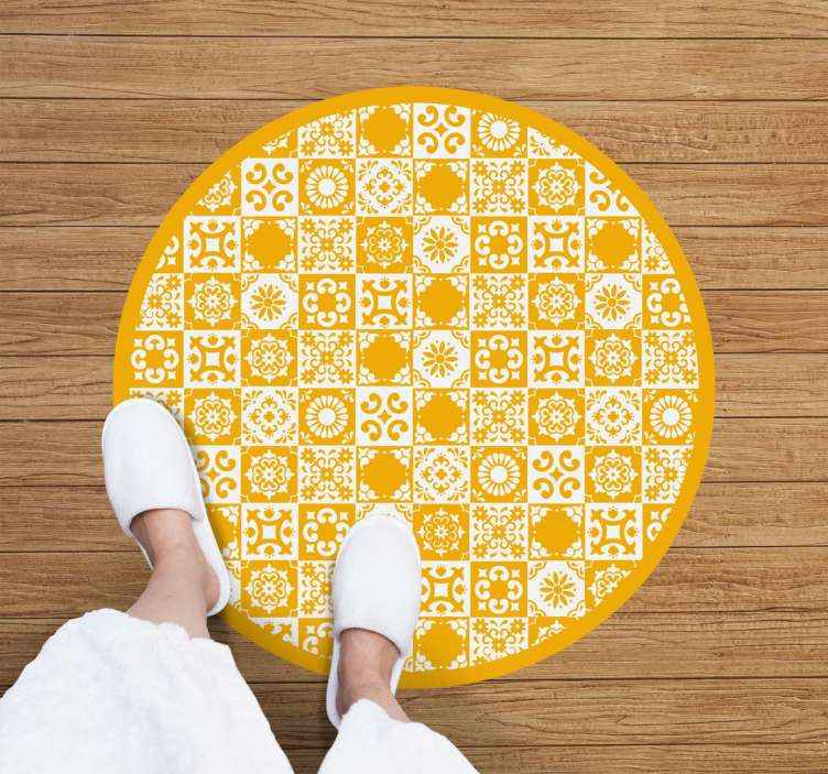 TenStickers. Abstract brown and white  tile mat. An abstract vinyl rug in white and yellow to decorate any space you want. High quality and very resistant product delivered to your house.