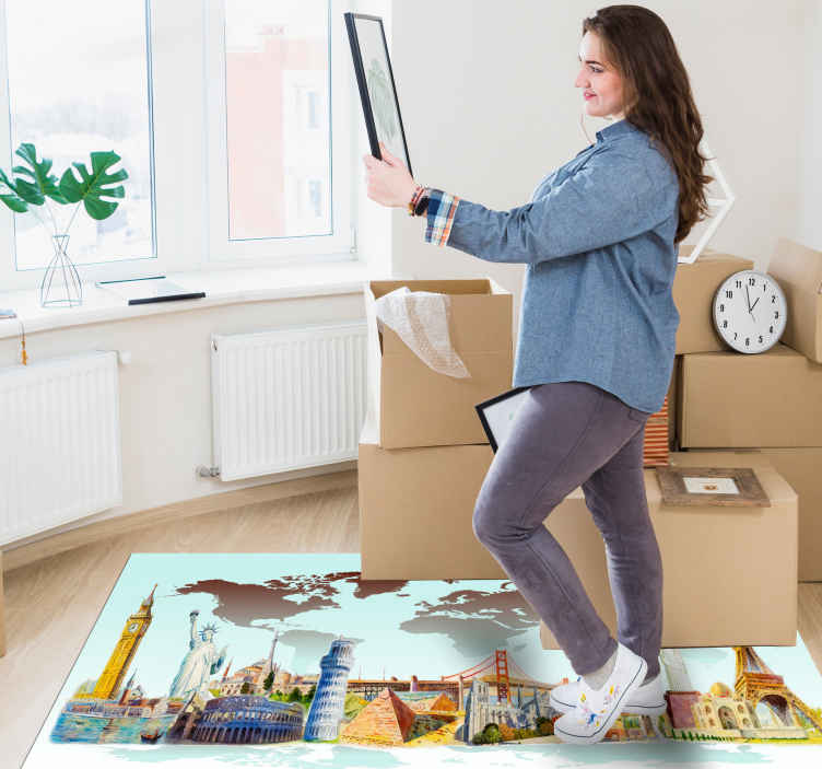 TenStickers. Silhouette mouments of different countries living room carpet. Vinyl rug with famous buildings all over the world. Easy to clean and store if neccessary. Add proper size. Check it out yourself!