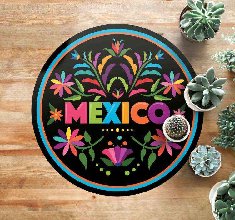 TenStickers. Tenango themes flower rug. A colorful Mexico vinyl rug with tenango themes to decorate the floor in any room you want. Easy to clean round vinyl rug.