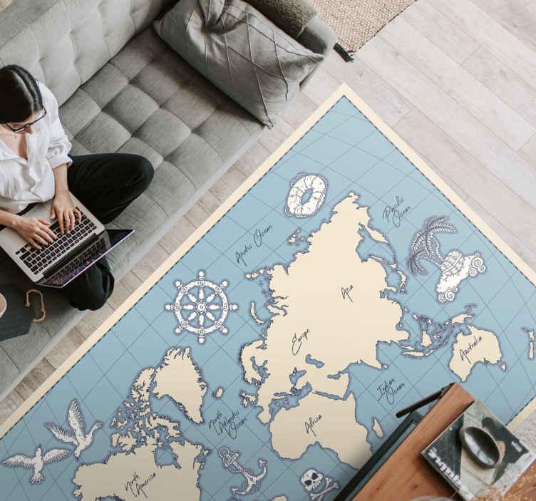 TenVinilo. Alfombra vinílica mapamundi vintage azul y beige. Alfombra vinílica mapamundi vintage con fondo azul y con los continentes en tonos beige para que decores tu hogar ¡Descuentos disponibles!