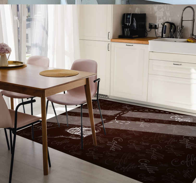 TenVinilo. Alfombra vinílica cocina patrón de café. Alfombra vinílica cocina de fondo marrón con frases sobre café para que decores tu casa con tu propio gusto. Elige medidas ¡Envío exprés!