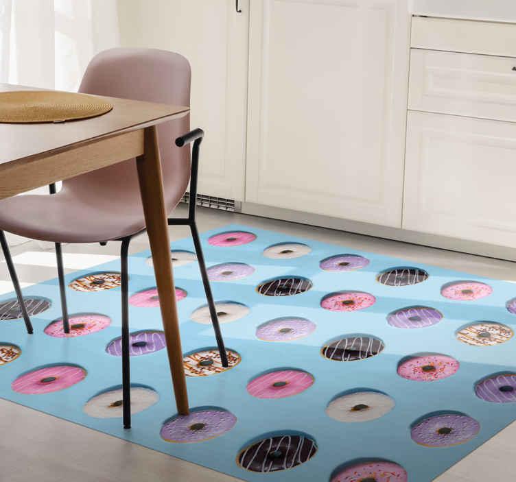 TenVinilo. Alfombra vinílica cocina azul patrón donuts. Alfombra vinílica cocina con patrón de donas realistas para que decores tu casa con un toque de dulzura. Elige medidas ¡Compra online ahora!