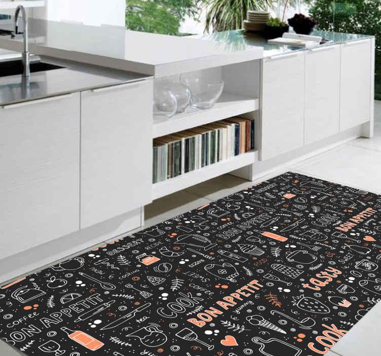 TenStickers. Bon apetit patroon keukenvloer. Bon appetit patroon keuken vinyl tapijt met diverse tekst inscripties voor diners. Het bevat ook ontwerptekeningen van bestek en kookwaren.